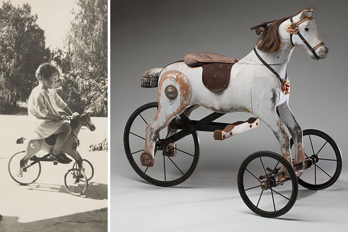 A 1920s horse tricycle and a photograph from 1926 of Susan Gibson riding it as a child.