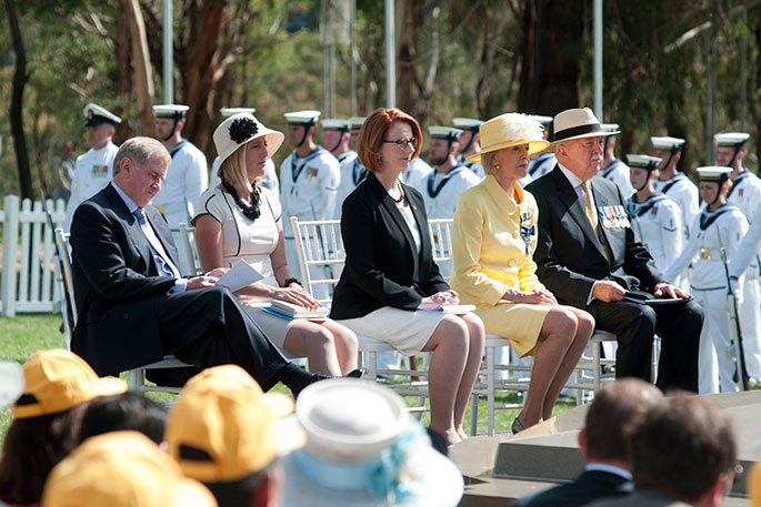 Dignatories seated at ceremony to mark the centenary of the laying of the Foundation stone for Canberra
