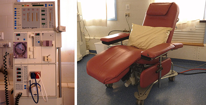A dialysis machine and patient dialysis chair.