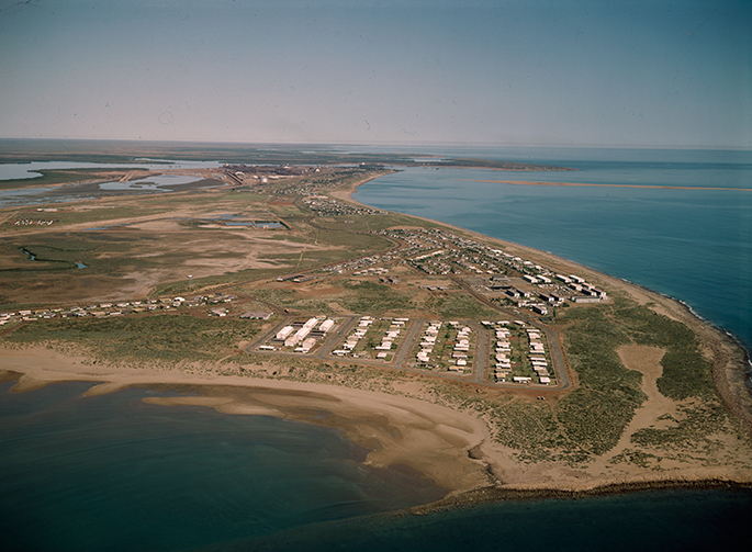 Aerial photograph of Cooke Point, Port Hedland in 1973 when the buildings were still owned by BHP