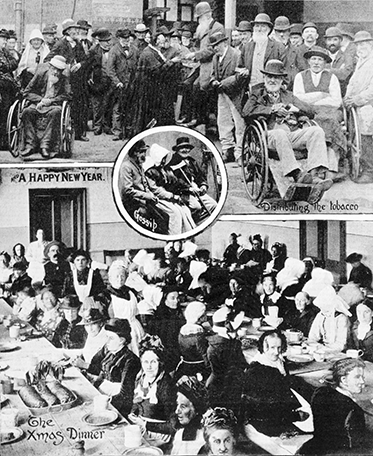 Composition of three photos showing inmates queueing for tobacco, and having Christmas dinner.
