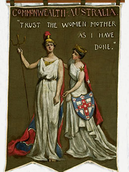 Poster depicting banner with illustration of two women representing Britain and Australia