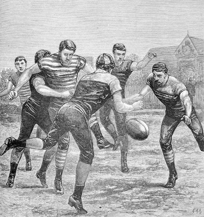 A football match: Carlton v. Melbourne, The Australasian Sketcher., 18 June 1881.