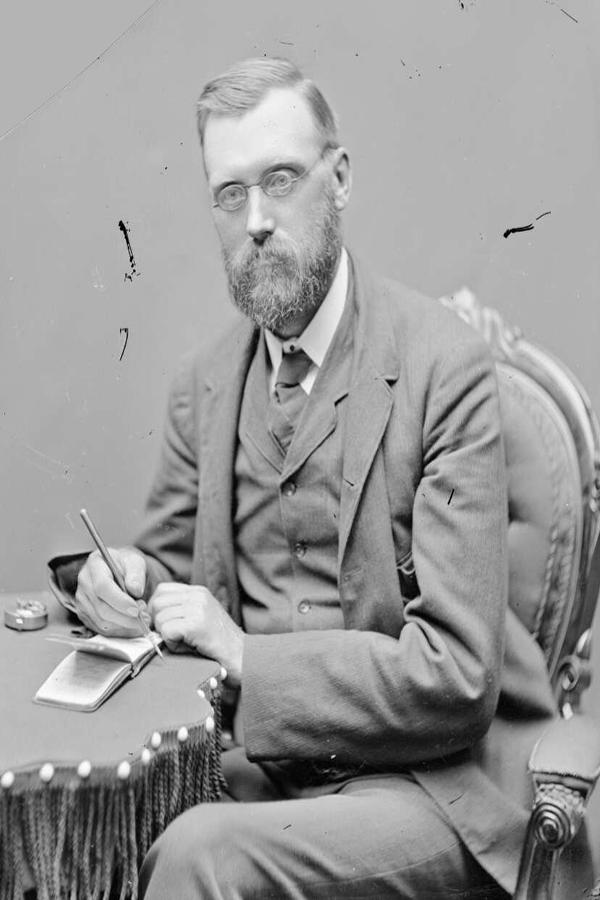 Black and white portrait photo of William Farrer