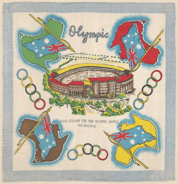 1956 Melbourne Olympic games souvenir silk scarf with rolled edges.