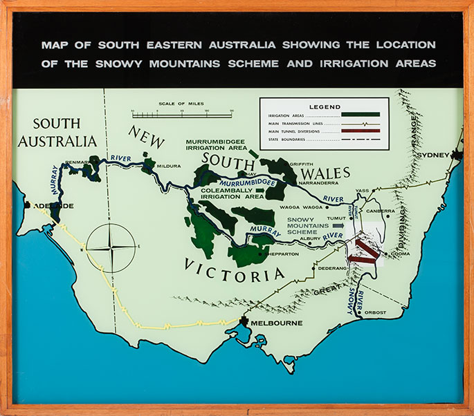 Map of eastern Australia showing location of Snowy mountain scheme