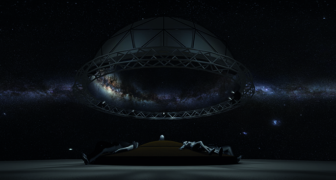 Graphic showing human figures lying on a central cushion and looking up into a large, dark dome.