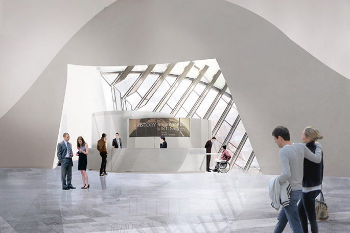 Illustration of a large hall with curvilinear roof, polished floors, an information desk and people positioned throughout