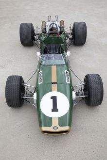 View from above of an open-wheeled racing car