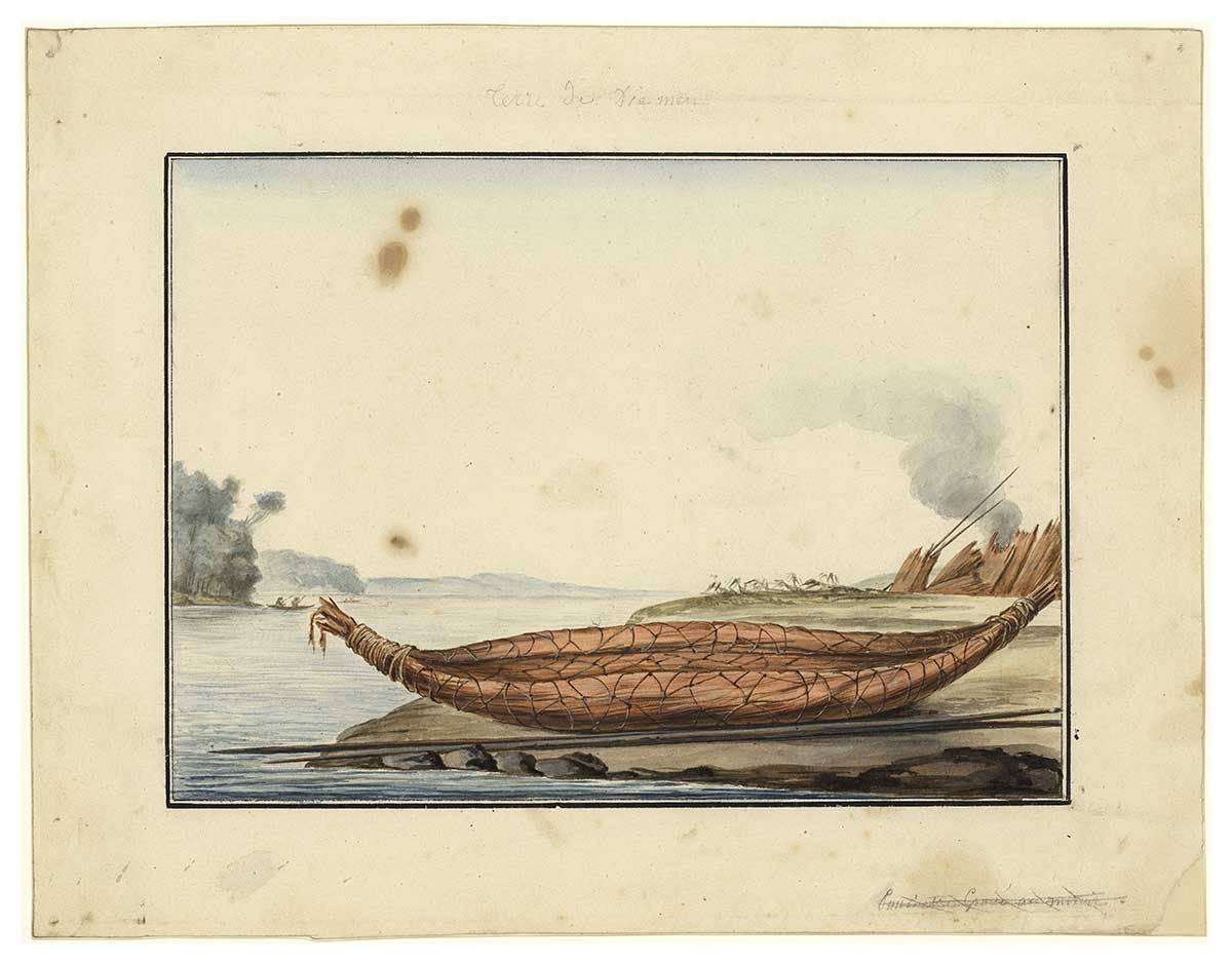 Canoe by Charles-Alexandre Lesueur 1800-1804. Watercolour, gouache and pencil on paper. - click to view larger image