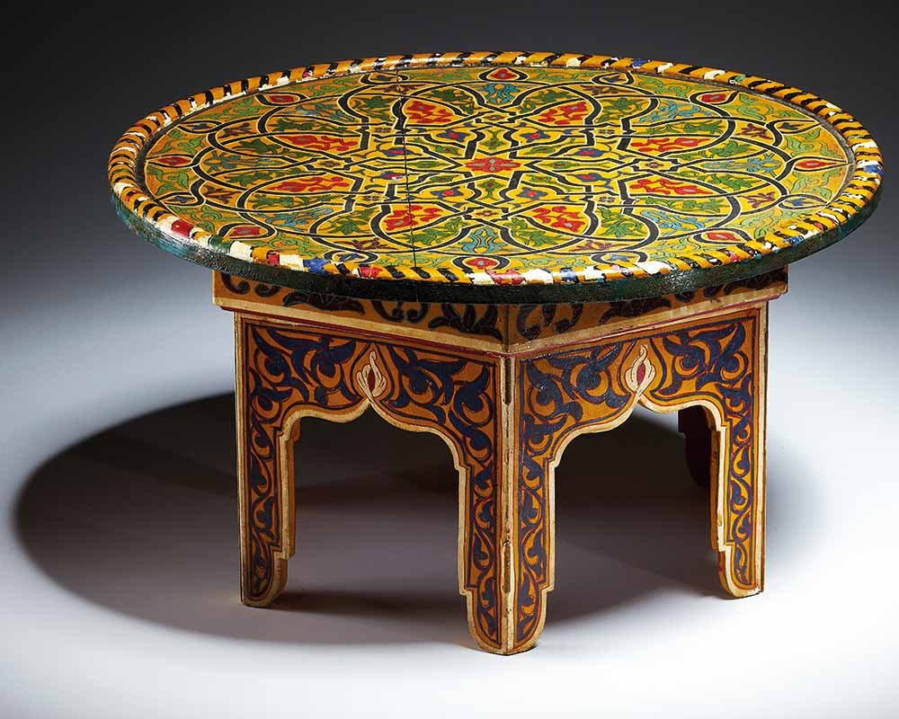 Varnished table with geometric and arabesque decoration. Made from wood and metal. - click to view larger image