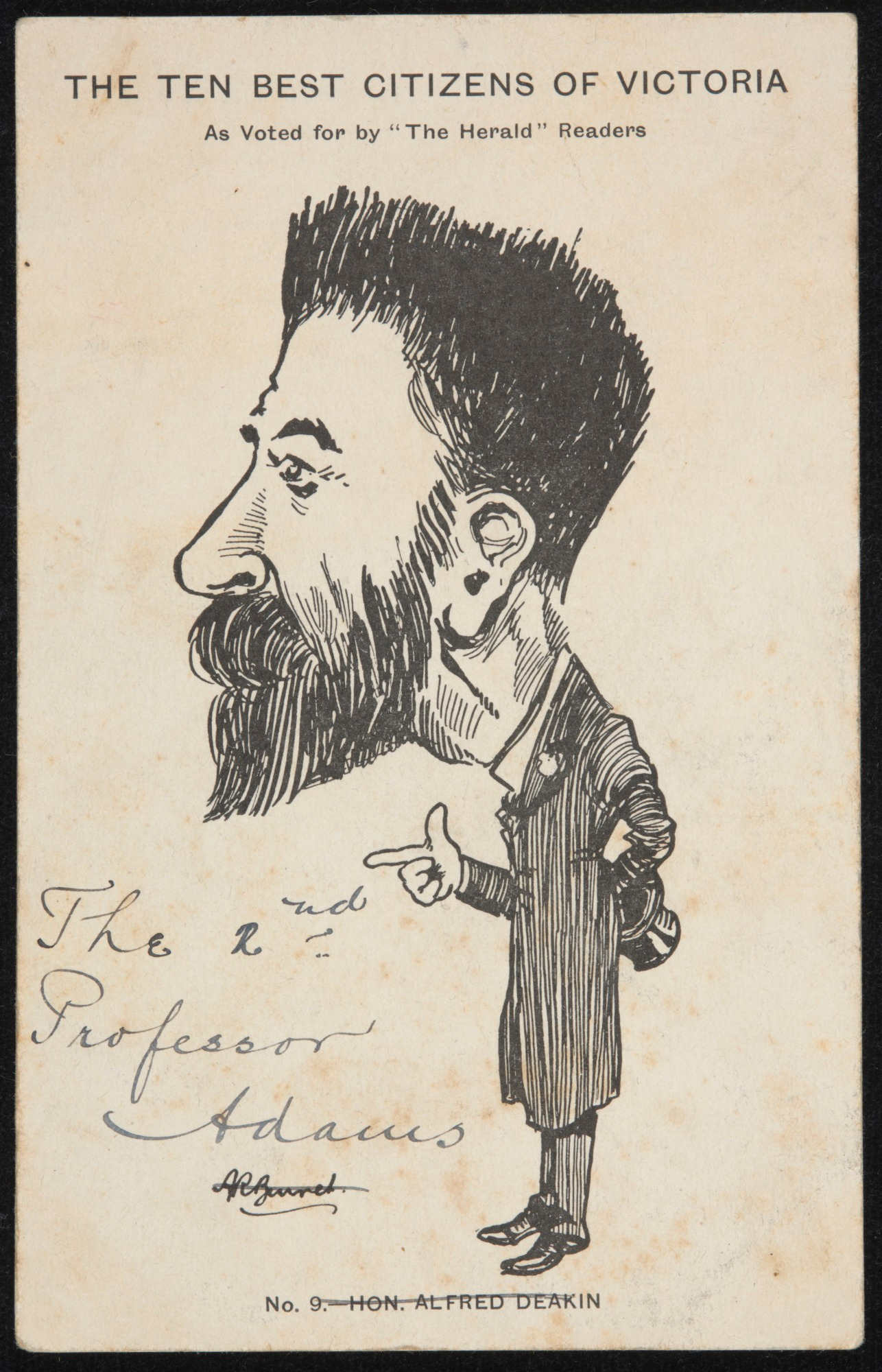 A postcard featuring a black and white cartoon depiction of a bearded man. - click to view larger image