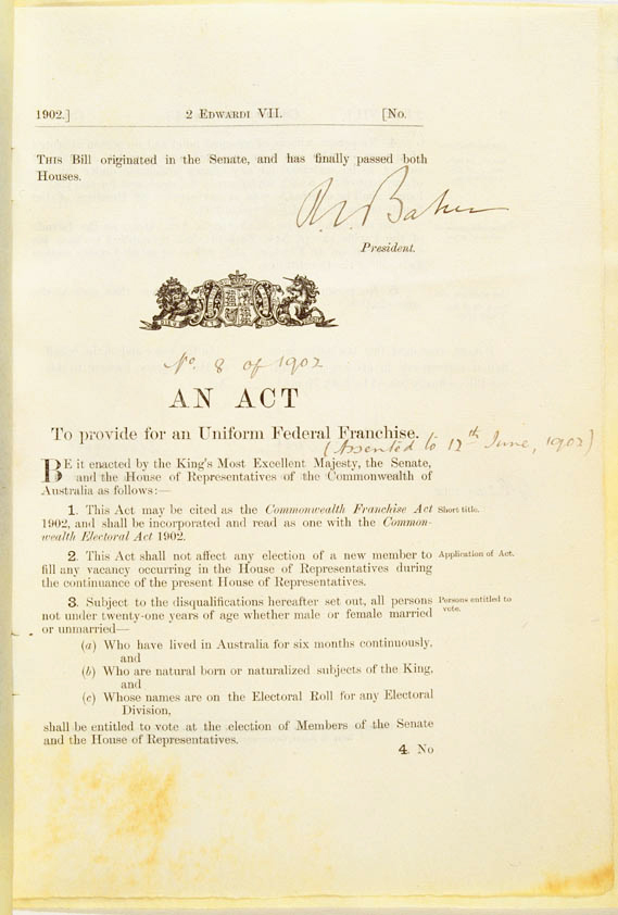 Front page of original legislation.