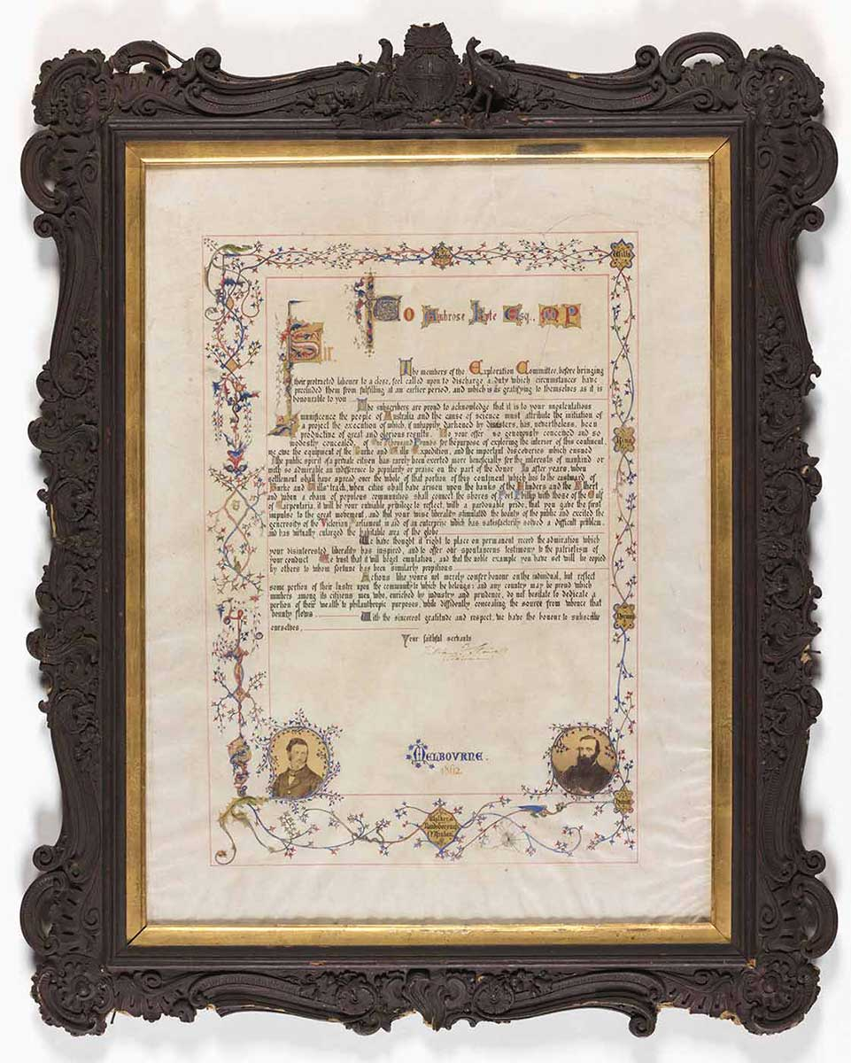 A framed manuscript, written in black ink and coloured paints recognising Ambrose Kyte's support of the Victorian Exploring Expedition. - click to view larger image