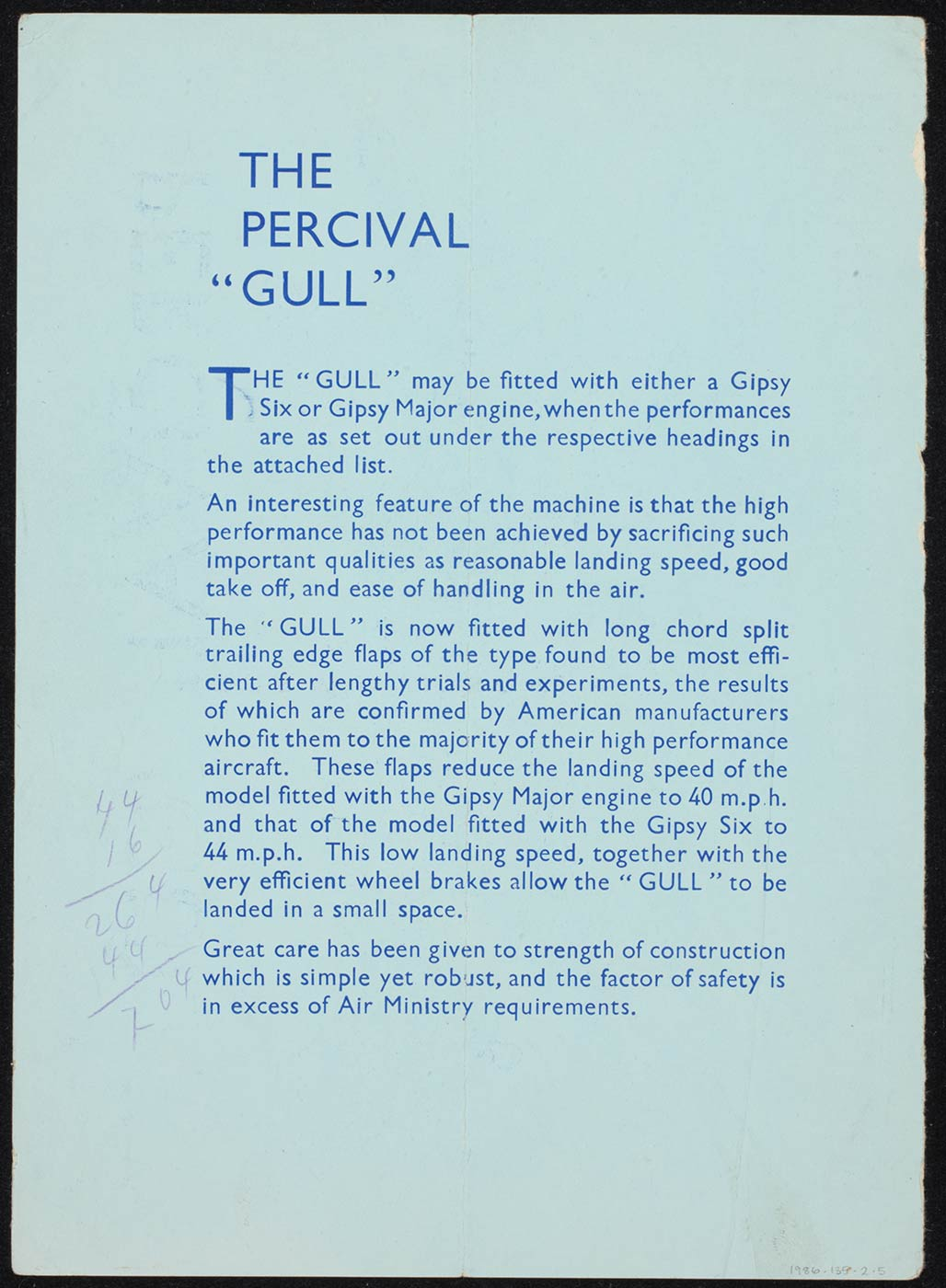 Copy of a pale blue advertising brochure for the Percival Gull aircraft. Text includes: 'The Gull may be fitted with either a Gipsy Six or Gipsy major engine, when the performances are set out under the respective headings in the attached list'.  - click to view larger image