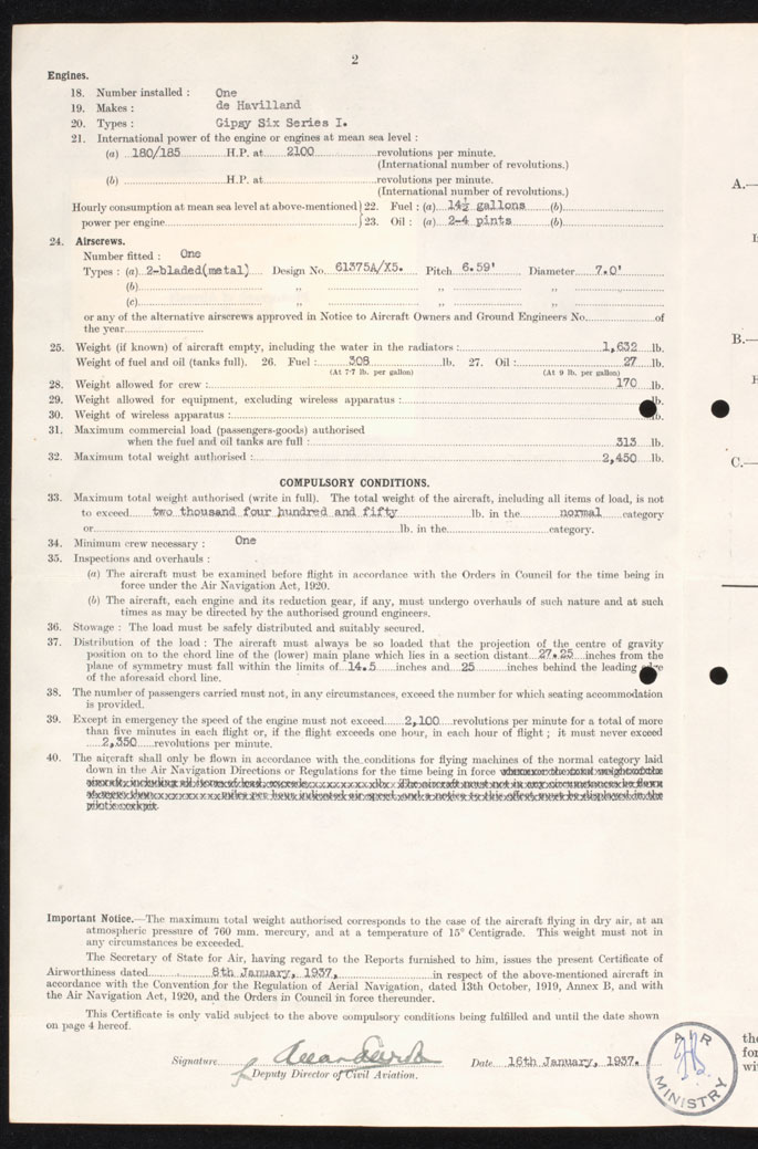 Copy of Page 2 of the Certificate of Airworthiness, listing details of the plane's engines, airscrew, weight and compulsory conditions. - click to view larger image