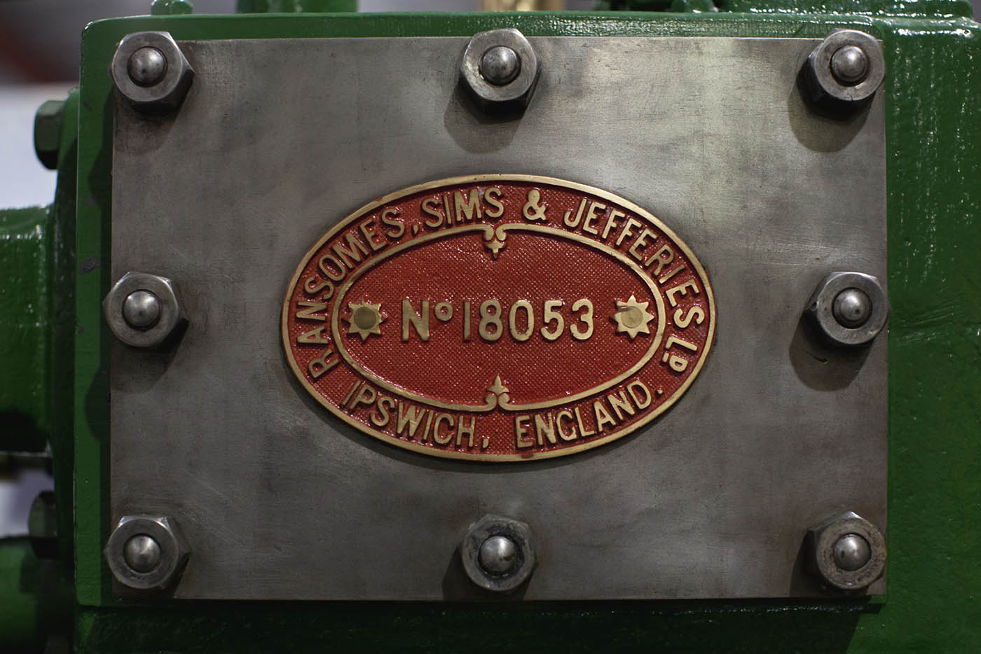 A colour photograph of an engine plate showing the serial number 'No. 18053'. - click to view larger image