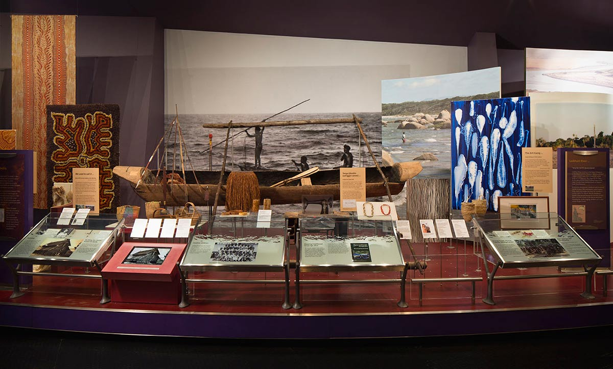 Museum display of various images and objects