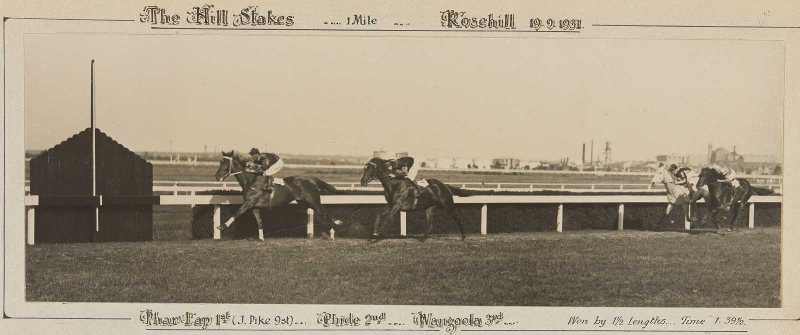 A black and white photo of Phar Lap winning the Hill Stakes, 1931. - click to view larger image