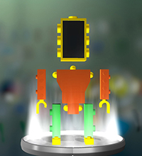 A digital image of a robot.