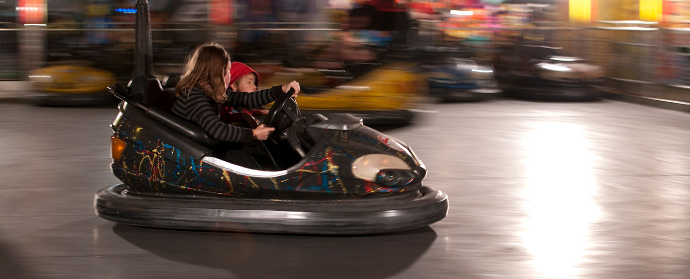 Two  children in a dodgem car. - click to view larger image