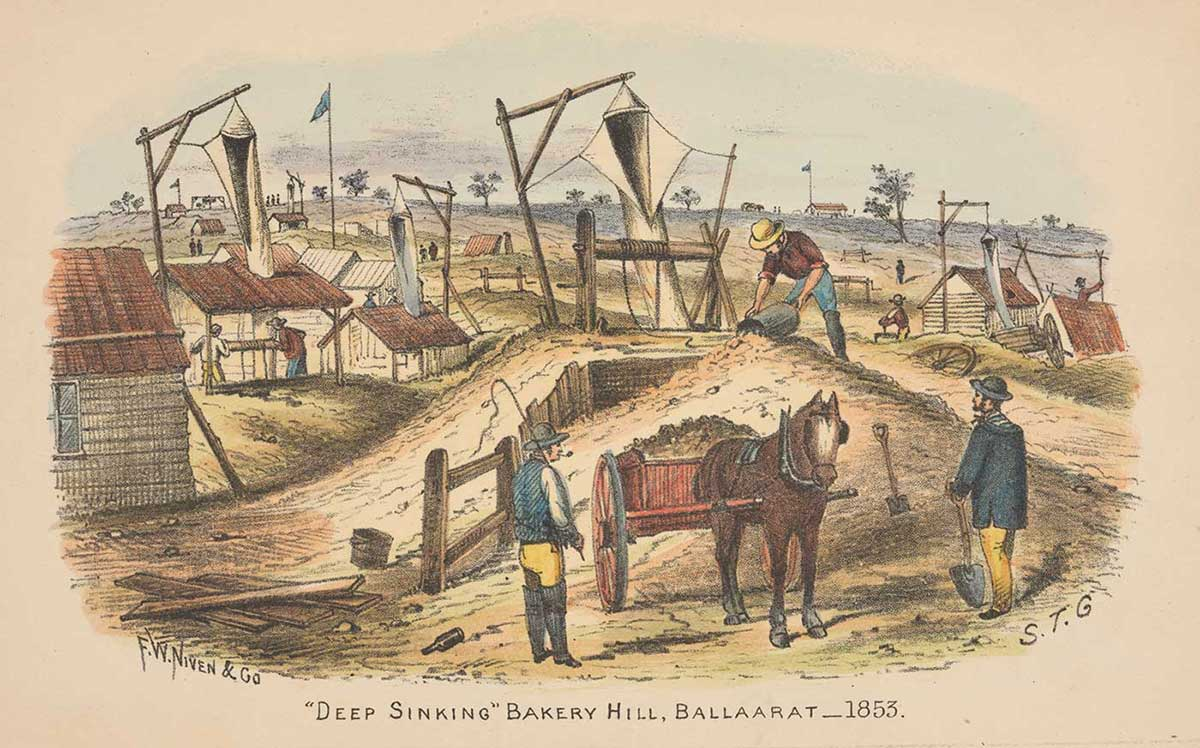 A colour illustration of three men working at a gold mine. One man stands atop a pile, scooping dirt into a bucket and another stands watching, holding a shovel. A horse with loaded cart stands at centre, watched by a man with a whip resting on his shoulder. - click to view larger image
