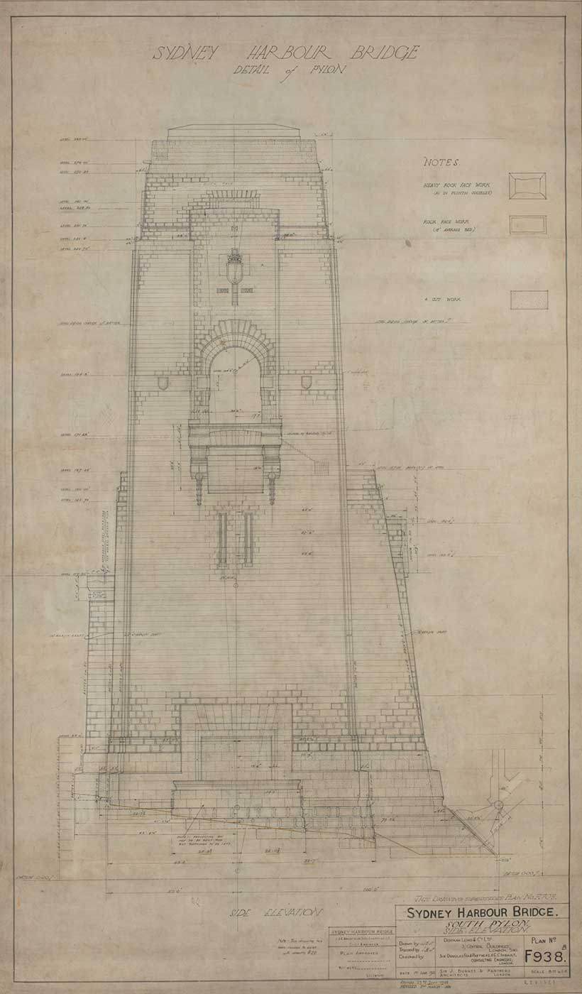An architectural plan for one the Sydney Harbour Bridges pylons. - click to view larger image