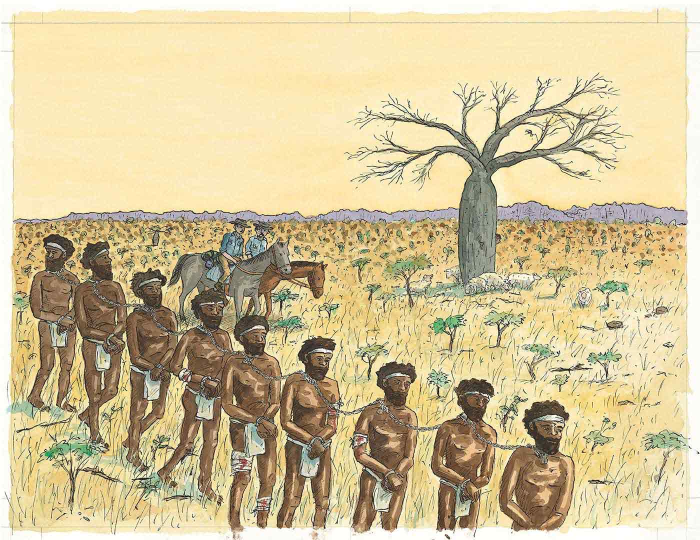 Colour illustration showing nine Aboriginal men chained at the neck, walking in single file. They wear white loin cloths and headbands. Two European policeman on horseback are to the right of the men.  - click to view larger image