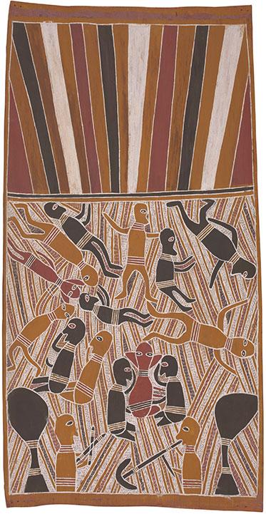 An Aboriginal bark painting.