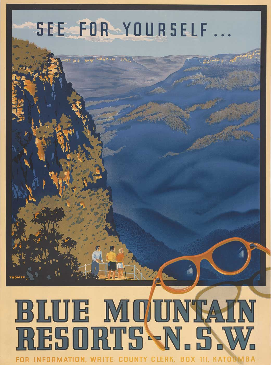 Three people at a lookout looking out to the Blue Mountains. Text at the top says 'See for yourself...' Text at the bottom says 'Blue Mountains resorts – N.S.W. For information, write county clerk, Box 111, Katoomba'