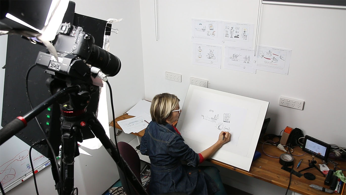 A woman seated in front of an easel. being filmed by a video camera. - click to view larger image