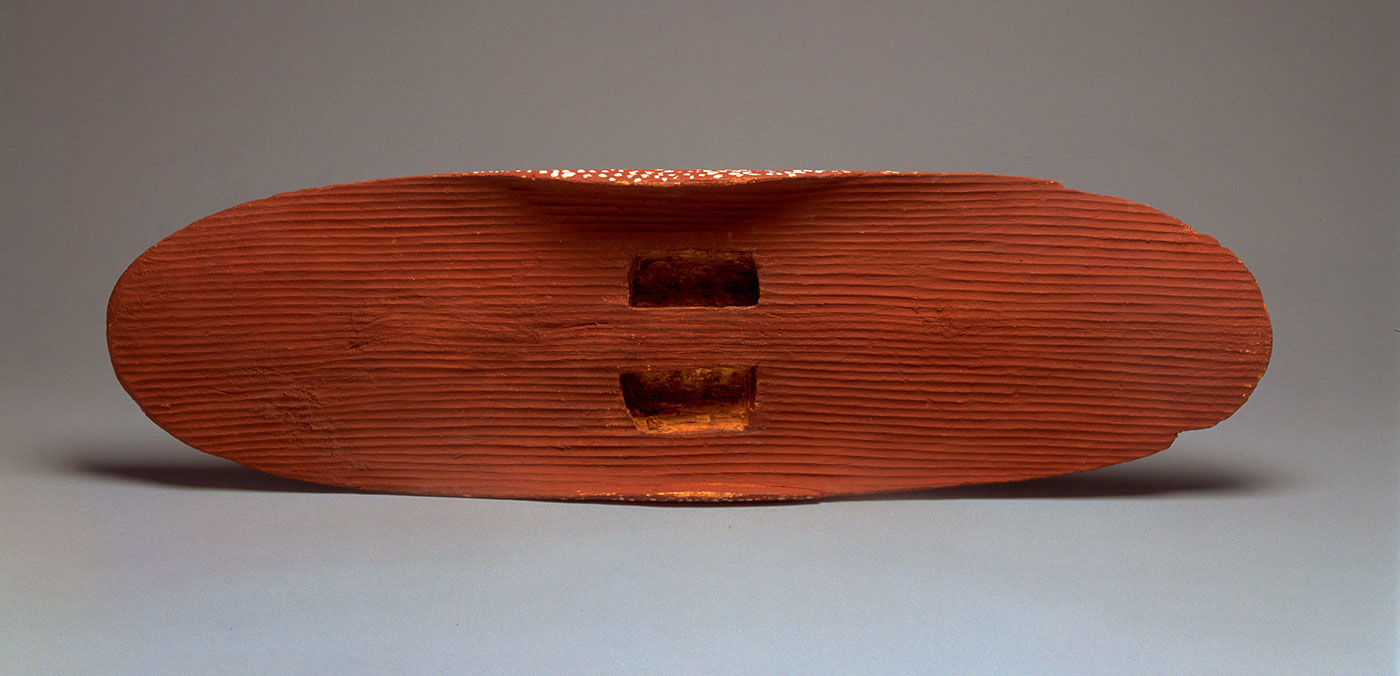 An image showing an oval-shaped wooden shield, rear view.  - click to view larger image