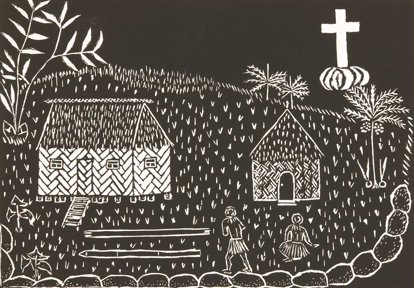 Artwork showing two huts and two figures and a large white cross - click to view larger image