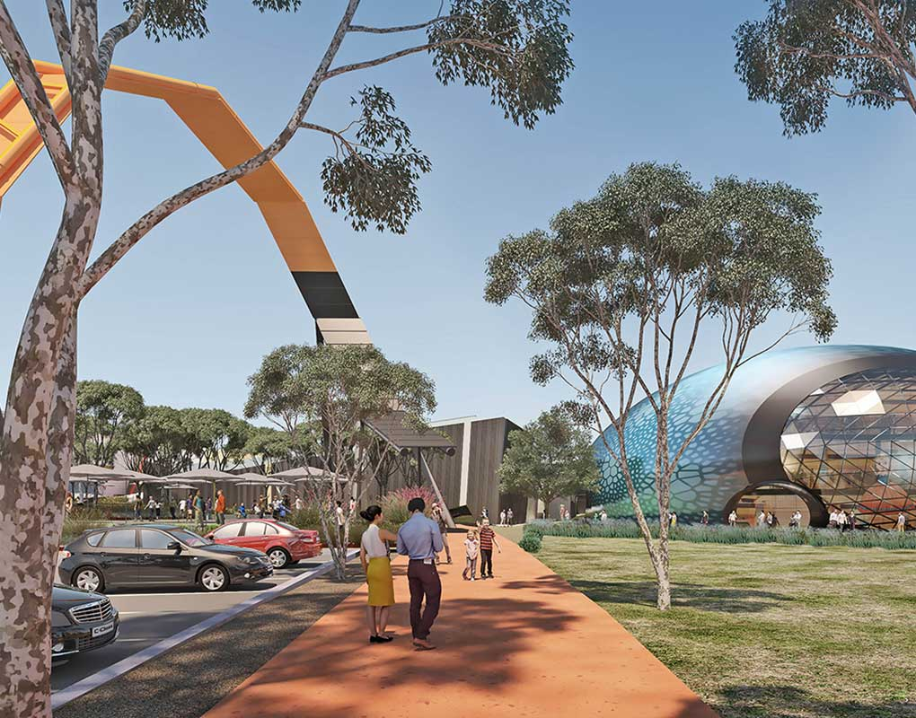 An architect's design concept for  the Museum's Theatre of Things  as a dome-shaped building resembling an Australian opal. - click to view larger image