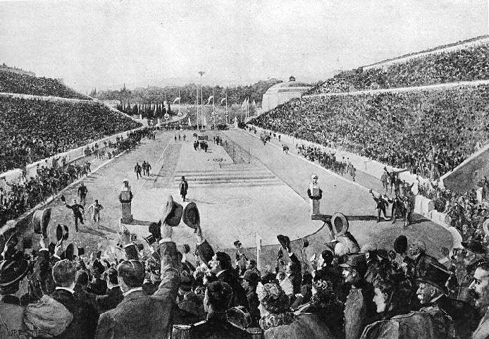 Spiridon Louis entering the stadium at the end of the marathon of the 1896 Olympic games