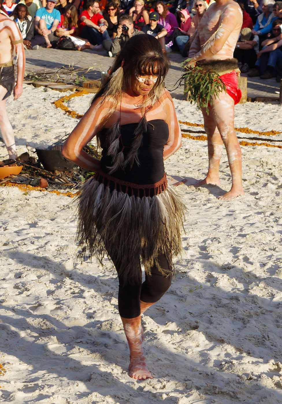 Wendy Berick wearing her feather skirt. - click to view larger image