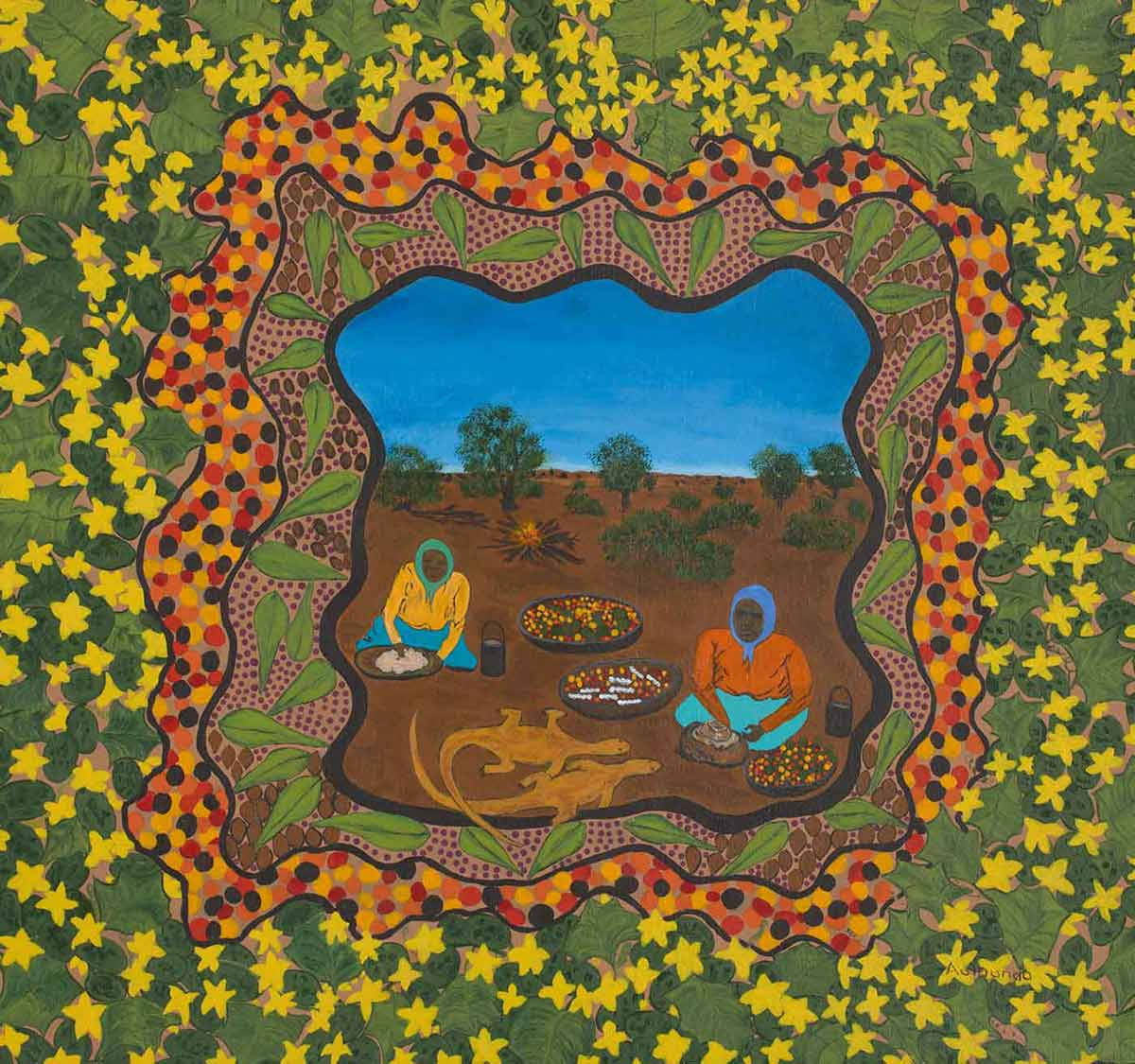 An acrylic painting on canvas featuring two elderly female figures sitting on the ground in the centre. Surrounding the two figures are trees, a camp fire, two goannas and bowls of berry like food. The illustration is outlined with various illustrative borders depicting leaves and dots with a further black solid painted frame on the outer edge. - click to view larger image