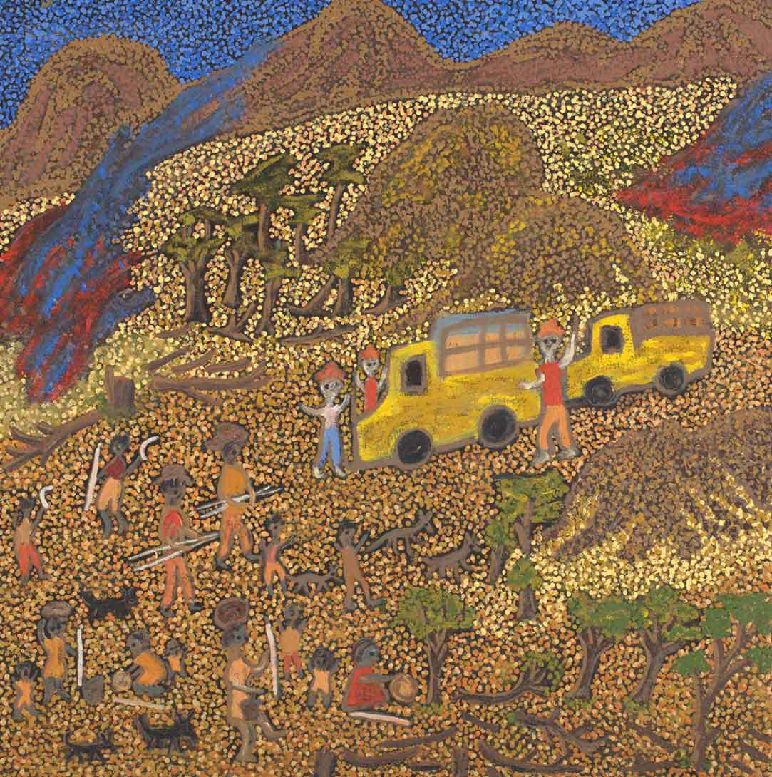 An acrylic painting on canvas showing a landscape made of dot infill with people, many of whom carry tools, and two yellow vehicles. - click to view larger image