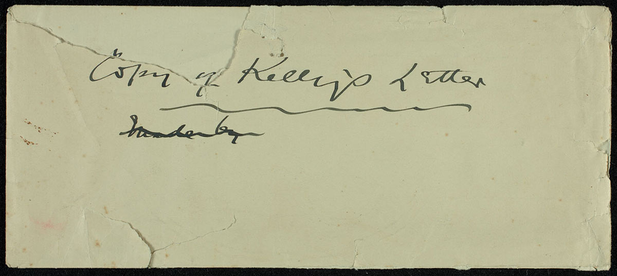 Envelope for Ned Kelly's Jerilderie letter. - click to view larger image