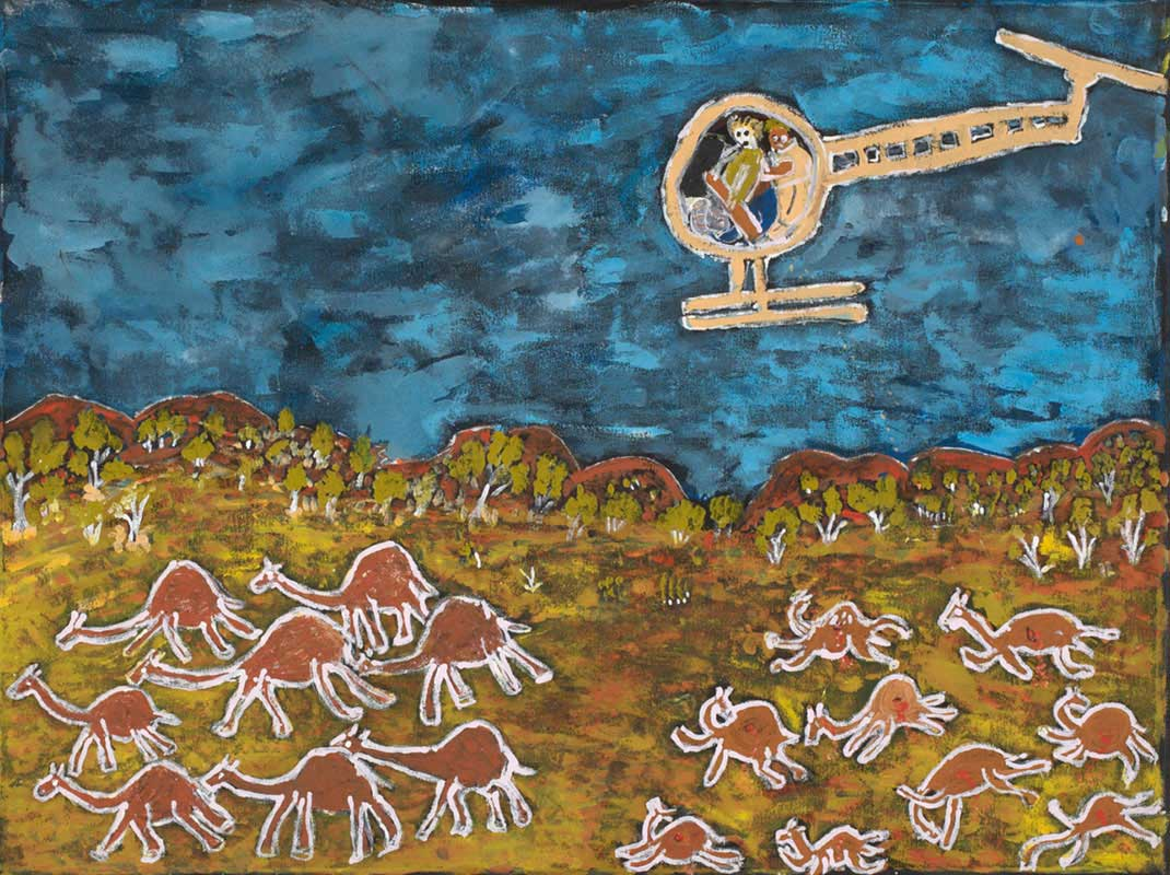 A painting depicting a landscape with hills in the background and two groups of camels running across the foreground . There is a cream-coloured helicopter in the blue sky in which there are two figures.  - click to view larger image