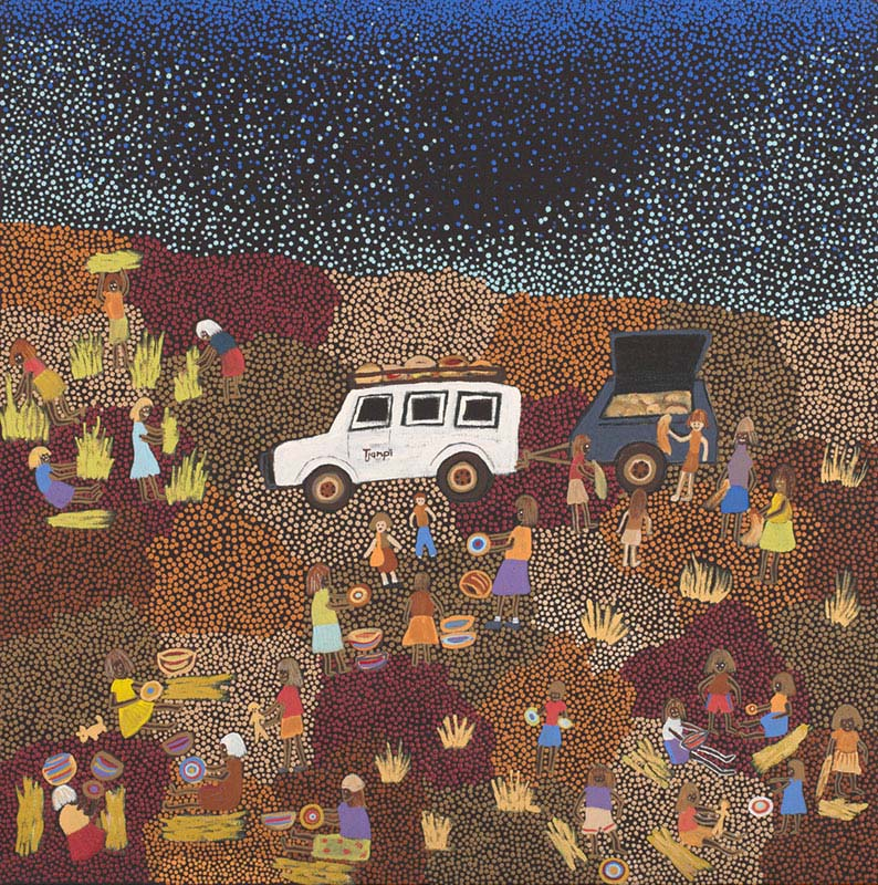 An acrylic painting on canvas showing people standing and seated around a white vehicle with a trailer. The background is made up of multi-coloured dot infill. - click to view larger image