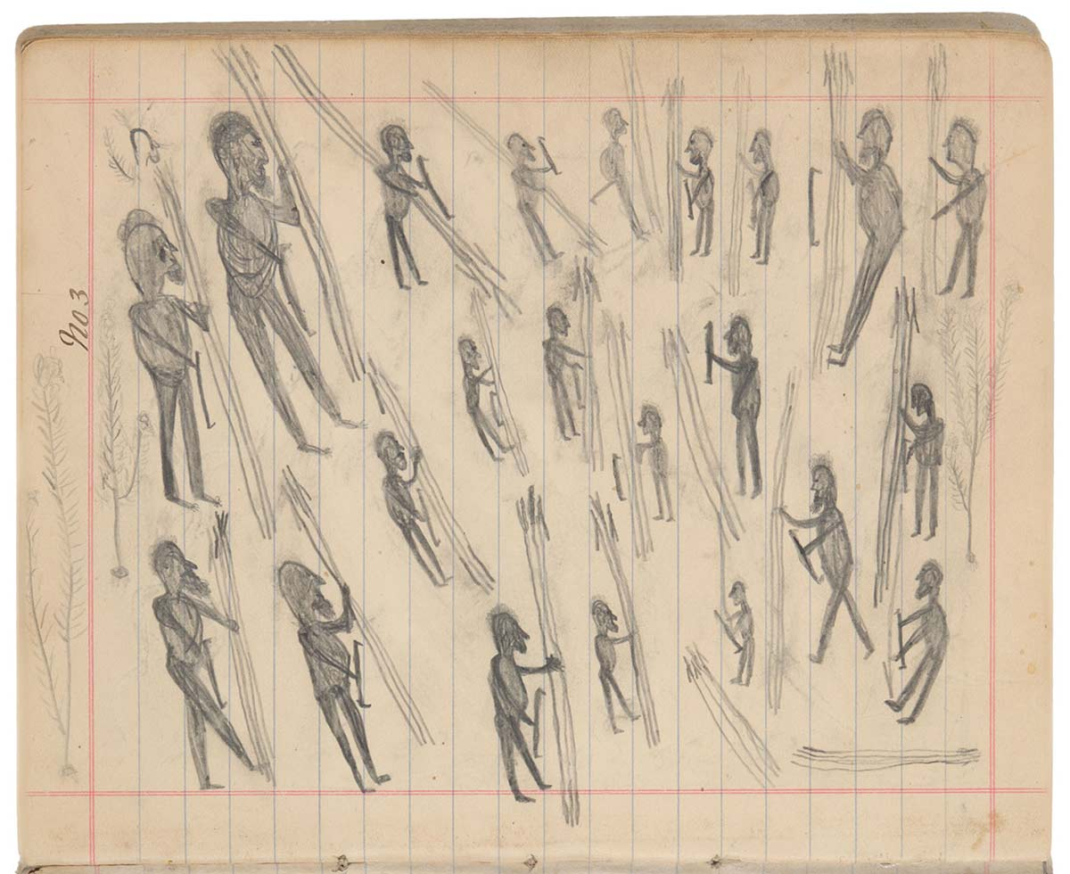 Sketchbook drawings of multiple figures who appear to be holding sticks - click to view larger image