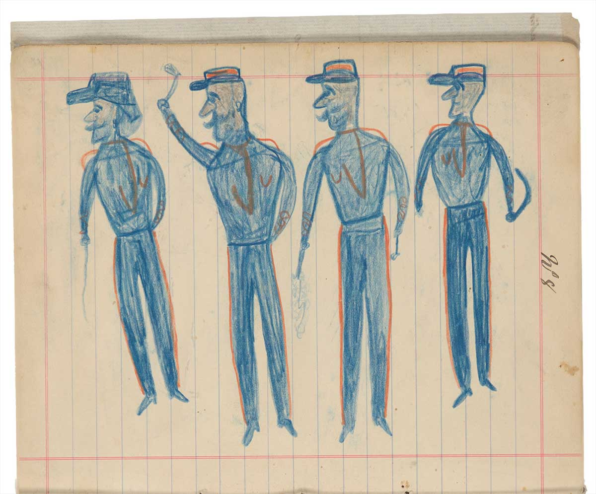 Sketchbook drawings of four blue figures wearing hats. - click to view larger image