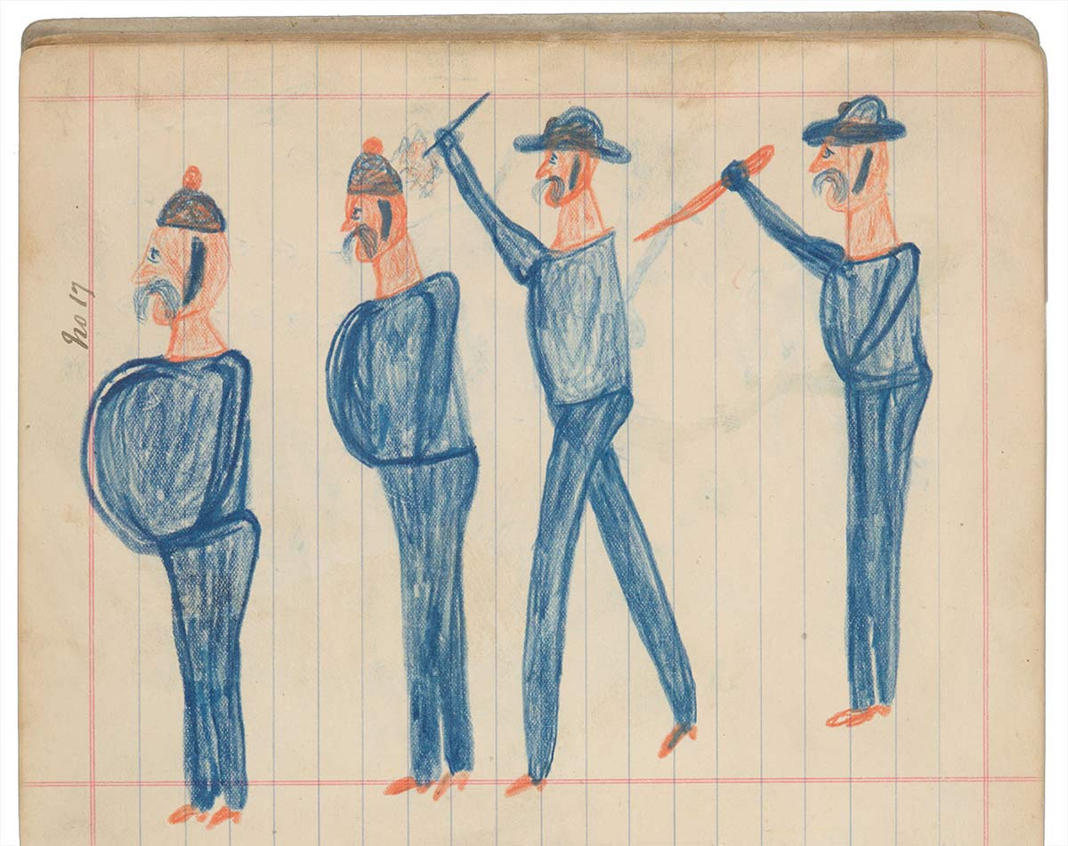 Sketchbook drawings of four blue figures, two holding weapons. - click to view larger image