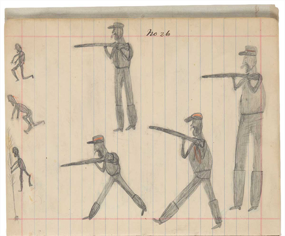 Sketchbook drawing of four men in uniform shooting at three Indigenous men - click to view larger image