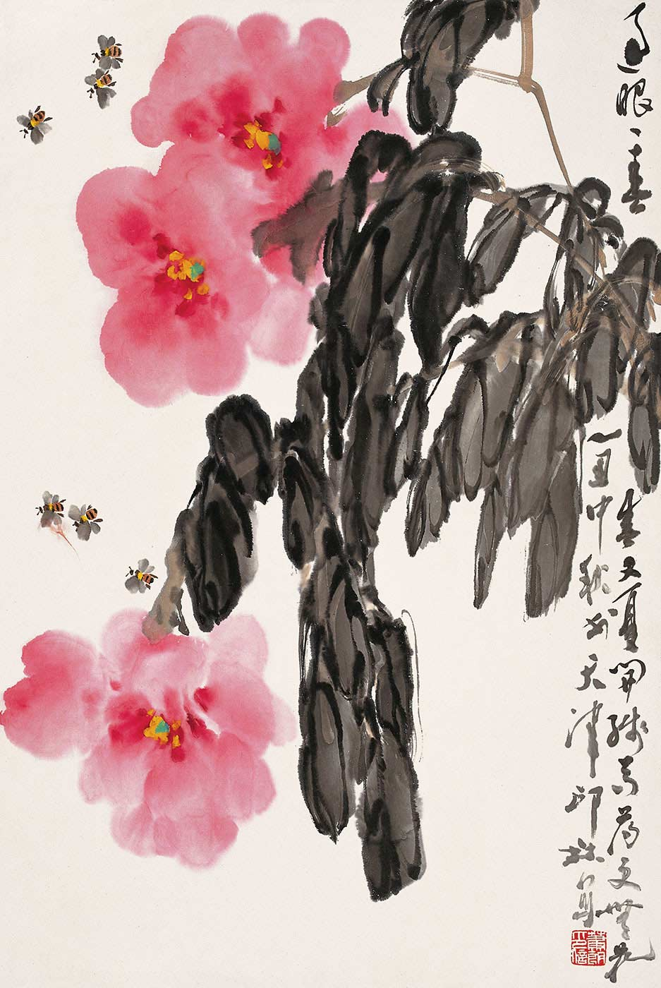 Chinese calligraphic painting of three pink blooms, grey foliage, and six bees. - click to view larger image