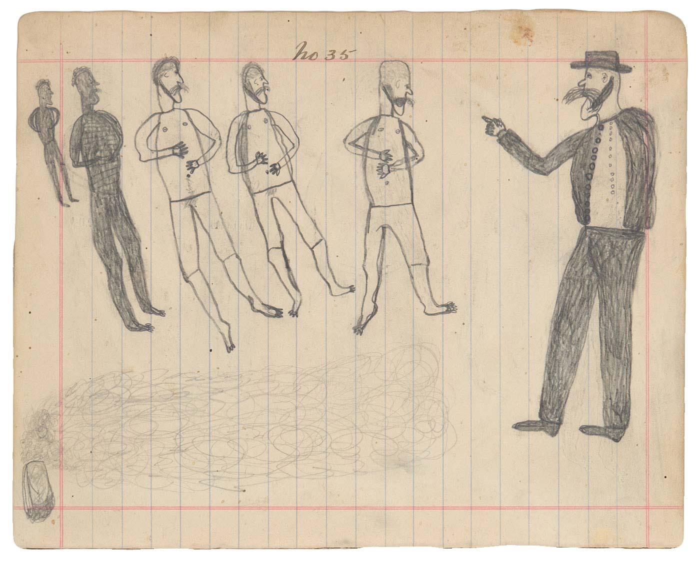 Sketchbook drawing of multiple figures