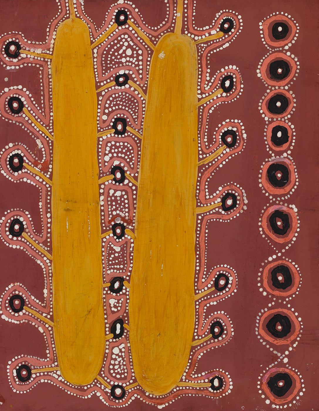 Medicine Story 1971 by Uta Uta (Wuta Wuta) Tjangala. - click to view larger image