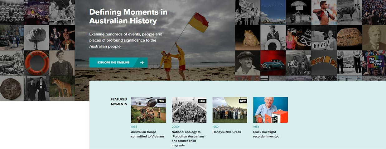 A screenshot of the National Museum of Australia's Defining Moments in Australian History homepage which features a compilation of small square-shaped images