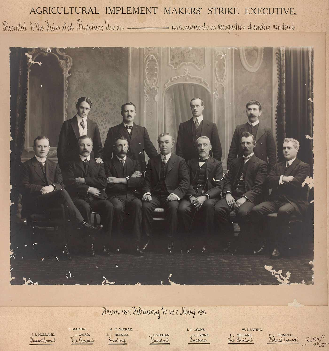 Group portrait of the Agricultural Implement Makers' Strike Executive 1911. - click to view larger image